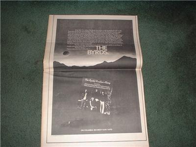 1972 THE BYRDS FARTHER ALONG POSTER TYPE AD