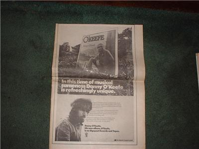 1972 DANNY O'KEEFE POSTER TYPE AD
