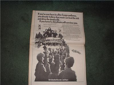 1972 BOZ SCAGGS POSTER TYPE AD