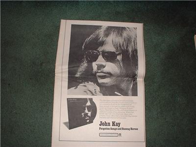 1972 JOHN KAY FORGOTTEN SONGS POSTER TYPE AD