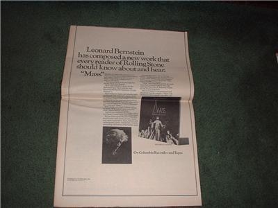 1972 LEONARD BERNSTEIN POSTER TYPE AD