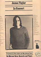JAMES TAYLOR IN CONCERT POSTER TYPE PROMO AD 1974