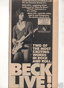 JEFF BECK WITH THE JAN HAMMER GROUP LIVE PROMO AD 1977