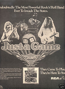 TRIUMPH JUST A GAME POSTER TYPE AD 1979