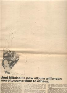 1970 JONI MITCHELL LADIES OF THE CANYON POSTER TYPE AD