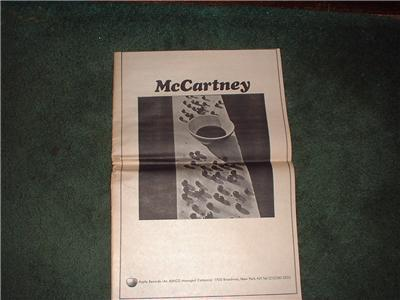 1970 PAUL McCARTNEY BEATLES POSTER TYPE AD