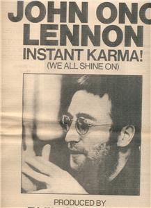 1970 JOHN LENNON INSTANT KARMA POSTER TYPE AD