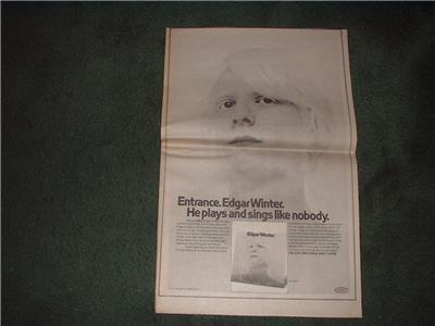 1970 EDGAR WINTER POSTER TYPE AD