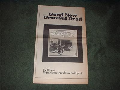 1970 GRATEFUL DEAD WORKINGMANS DEAD POSTER TYPE AD