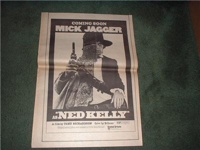 1970 MICK JAGGER NED KELLY ROLLING STONES POSTER AD