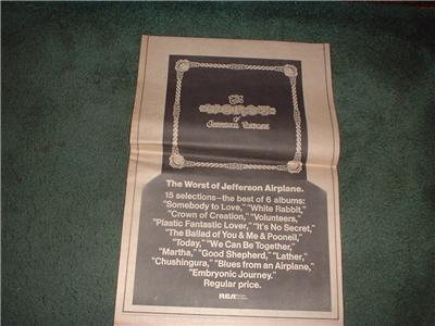 1970 JEFFERSON AIRPLANE THE WORST OF POSTER TYPE AD