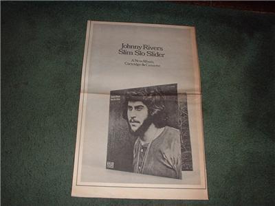 1970 JOHNNY RIVERS SLIM SLO SLIDER POSTER TYPE AD