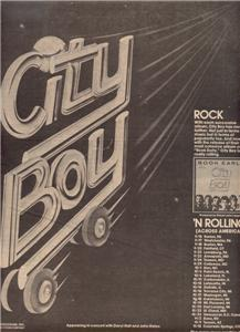 1978 CITY BOY BOOK EARLY TOUR CONCERT POSTER TYPE AD