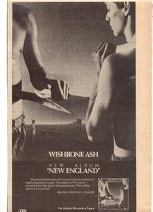 1977 WISHBONE ASH NEW ENGLAND POSTER TYPE AD