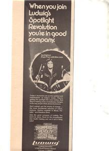 1976 ROGER POPE ELTON JOHN LUDWIG DRUMS POSTER TYPE AD