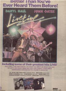 1978 DARYL HALL JOHN OATES LIVE POSTER TYPE AD
