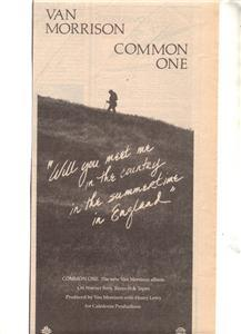 1980 VAN MORRISON COMMON ONE POSTER TYPE AD