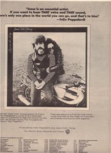 1977 JESSE COLIN YOUNG TOUR POSTER TYPE AD