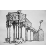 ITALY Pulpit at Baptistery of Pisa - SUPERB 1843 Antique Print - $22.46