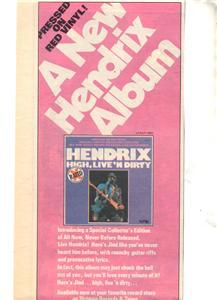 1978 JIMI HENDRIX LIVE AND DIRTY POSTER TYPE AD