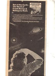 1977 FRANK MARINO & MAHOGANY RUSH WORLD POSTER TYPE AD