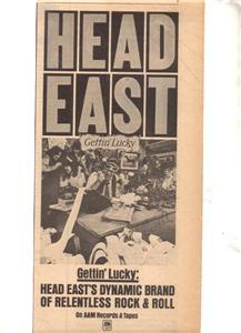 1977 HEAD EAST GETTIN LUCKY POSTER TYPE AD