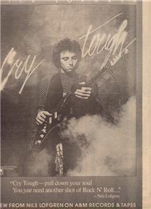 1976 NILS LOFGREN CRY TOUGH POSTER TYPE AD