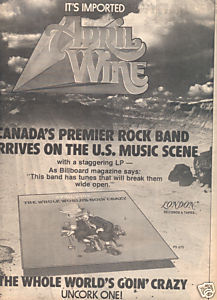 1976 APRIL WINE POSTER TYPE AD