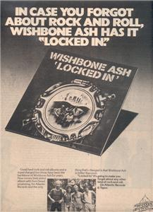 1976 WISHBONE ASH LOCKED IN POSTER TYPE AD