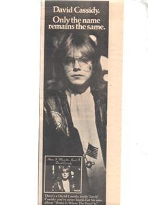 1976 DAVID CASSIDY HOME IS WHERE POSTER TYPE AD