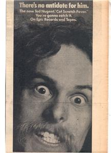 1977 TED NUGENT CAT SCRATCH FEVER POSTER TYPE AD