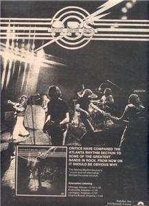 1977 ATLANTA RHYTHM SECTION POSTER TYPE AD