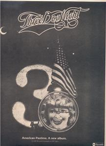 1976 THREE DOG NIGHT AMERICAN PASTIME POSTER TYPE AD