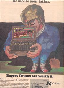 1974 ROGERS DRUMS POSTER TYPE AD