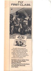 1976 THE FLYING BURRITO BROTHERS AIRBORN POSTER TYPE AD