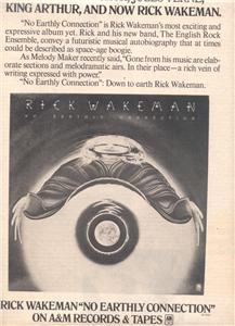 1976 RICK WAKEMAN NO EARTHLY CONNECTION POSTER TYPE AD