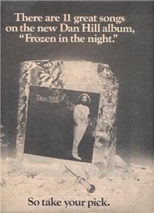 1978 DAN HILL FROZEN IN THE NIGHT POSTER TYPE AD