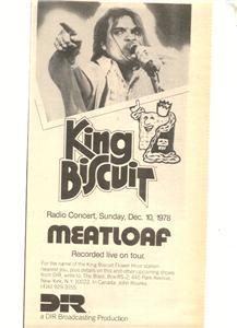 1978 MEATLOAF KING BISCUIT FLOWER HOUR POSTER TYPE AD