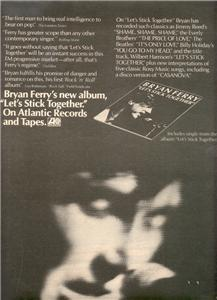 1976 BRYAN FERRY LETS STICK TOGETHER POSTER TYPE AD