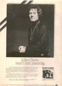 1978 ALLAN CLARKE I WASNT BORN YESTERDAY POSTER TYPE AD