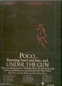 1980 POCO UNDER THE GUN POSTER TYPE TOUR AD