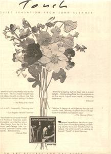 1976 JOHN KLEMMER TOUCH POSTER TYPE AD