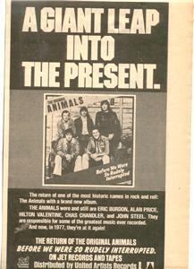 1977 THE ANIMALS POSTER TYPE AD