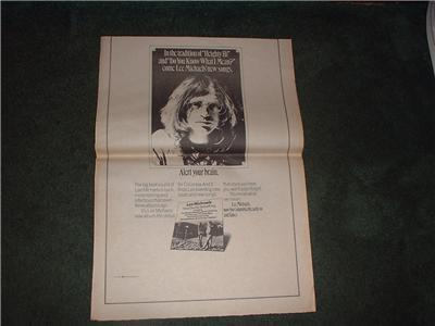 1973 LEE MICHAELS POSTER TYPE AD