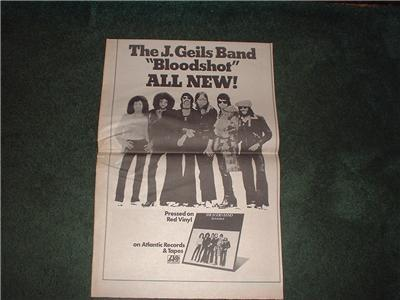 1973 THE J GEILS BAND BLOODSHOT POSTER TYPE AD