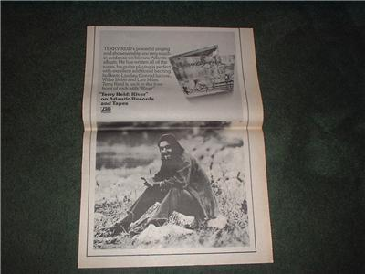 1973 TERRY REID RIVER POSTER TYPE AD