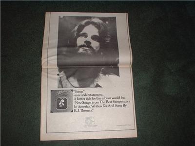 1973 BJ B J THOMAS SONGS POSTER TYPE AD