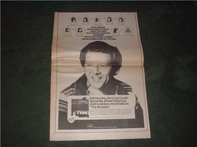 1973 JERRY LEE LEWIS THE SESSION POSTER TYPE AD