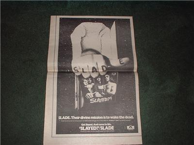 1973 SLADE SLAYED POSTER TYPE AD