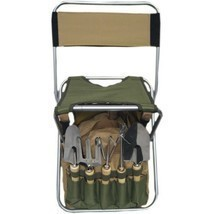 Outdoor Gardening Tools Set Foldaway Stool Backrest Detachable Tote 9 Pi... - £63.04 GBP